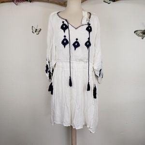 Sand & spirit white boho tasseled summer dress